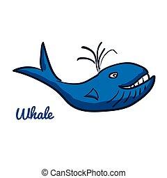 Cute cartoon whale