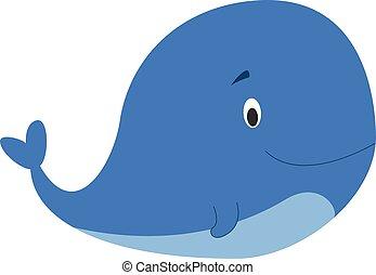 Cute cartoon whale vector illustration