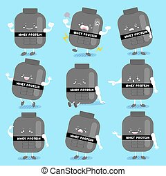cute cartoon whey protein with different emotion