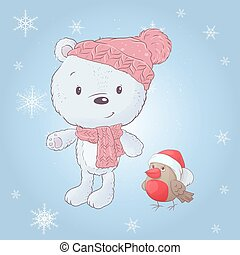 Cute cartoon white bear in a hat with a bullfinch. Vector illustration