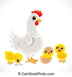 Cute cartoon white chicken with chickens isolated on white background