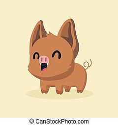 Cute Cartoon Wild Boar.