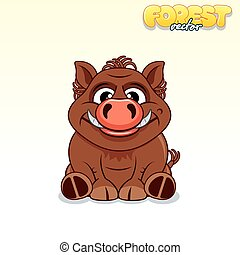 Cute Cartoon Wild Boar. Funny Vector Animal
