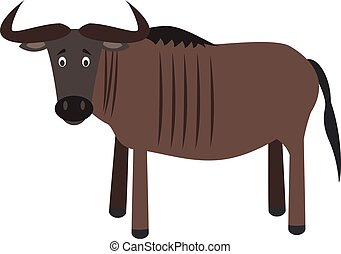Cute cartoon wildebeest vector illustration