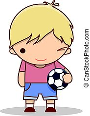 Cute cartoon winking little boy with a football in his hands