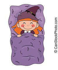 Cute cartoon witch sleeping in a bed isolated on white background