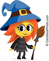 Cute cartoon witch. Vector clip art illustration of Halloween witch with a broom