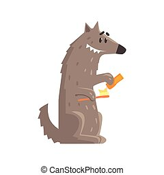 Cute cartoon wolf holding a toothbrush and a toothpaste colorful character, animal grooming vector Illustration