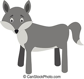 Cute cartoon wolf vector illustration