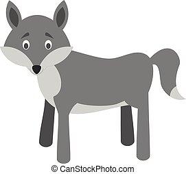 Cute cartoon wolf vector illustration