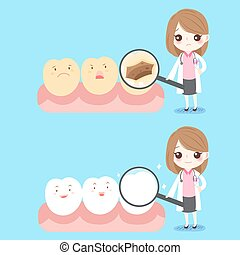 woman dentist with tooth - cute cartoon woman dentist with ...