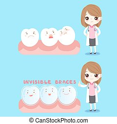 cute cartoon woman dentist with tooth wear brace on blue background