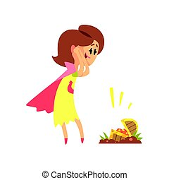 Cute cartoon woman found a treasure chest. Colorful character vector Illustration