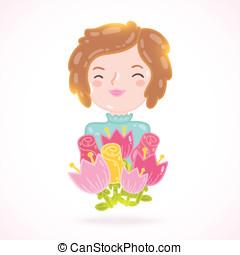 Cute cartoon woman with flowers.