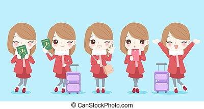 cute cartoon woman