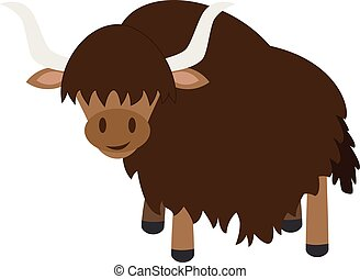 Cute cartoon yak vector illustration