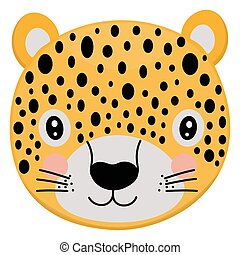 Cute cartoon yellow face of leopard. A single stylized portrait of a wild animal living in the jungle on a white background. Vector.