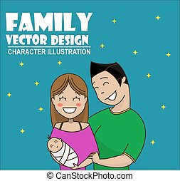 Cute cartoon young couple holding baby
