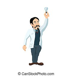 Cute cartoon young scientist character with lighting bulb on white