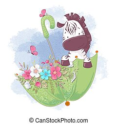 Cute cartoon zebra in an umbrella with flowers. Vector illustration