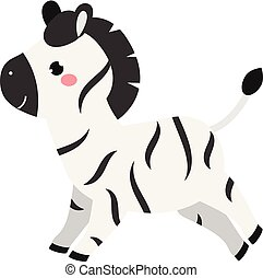 Cute cartoon zebra. Kawaii animal character for kids and baby fashion prints and design. Isolated clip art