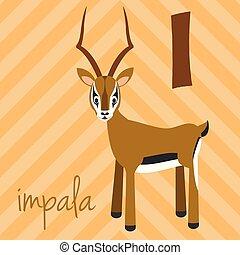 Cute cartoon zoo illustrated alphabet with funny animals: I...