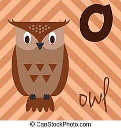 Cute cartoon zoo illustrated alphabet with funny animals: O for Owl. English alphabet. Learn to read. Isolated Vector illustration.