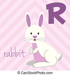 Cute cartoon zoo illustrated alphabet with funny animals: R for Rabbit. English alphabet. Learn to read. Isolated Vector illustration.