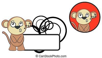 cute, cartoon4, expressão, macaco