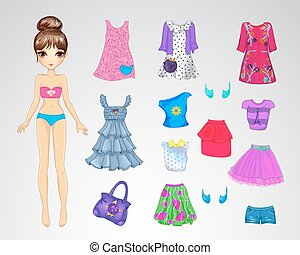 Cute Casual Paper Doll - Vector illustration of cute paper...