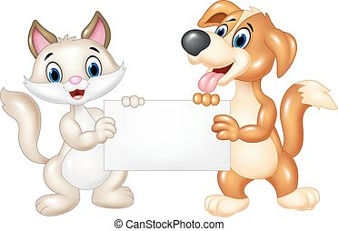 Cute cat and dog holding blank sign