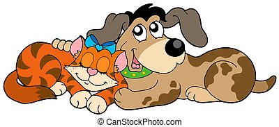 Cute cat and dog - isolated illustration.