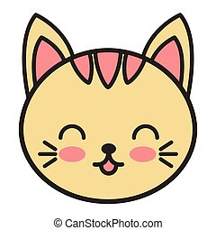 cute cat animal tender isolated icon vector illustration...