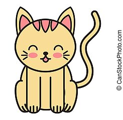 cute cat animal tender isolated icon