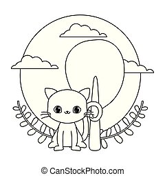 cute cat animal with tree plant and crown leafs