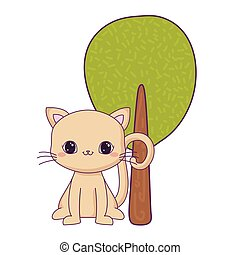 cute cat animal with tree plant