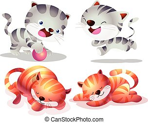 Cute cat cartoon actions