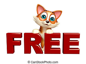 cute cat cartoon character with free sign - 3d rendered...