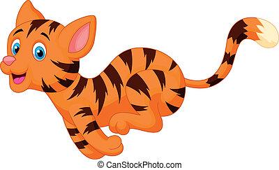 Cute cat cartoon running - Vector illustration of Cute cat...