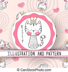 Cute cat - cartoon seamless pattern