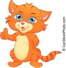 cute cat cartoon thumb up
