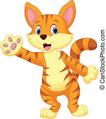 Cute cat cartoon waving hand