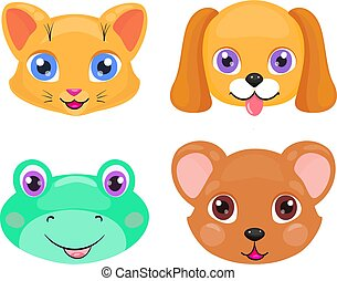 Cute cat, dog, frog and bear face or mask set isolated on white background. Cartoon baby cub collection with bright eyes, smiling and kind.