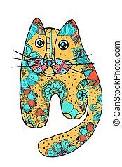 cute, cat., doodle