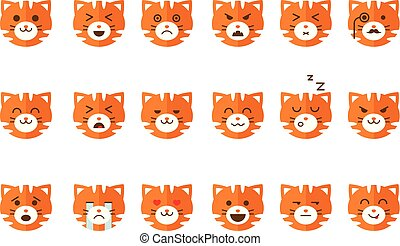 Cute cat emoticons set, funny kitten emoji with different emotions vector Illustrations on a white background