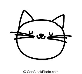 cute cat face cartoon character on white background thick line
