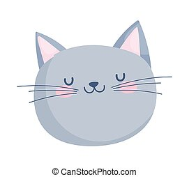 cute cat face cartoon character on white background