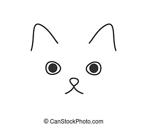 Cute cat face doodle drawing.
