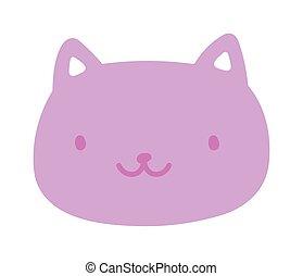 cute cat face happy cartoon design