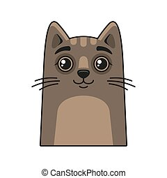 Cute Cat Face Icon. Cartoon Style on White Background Vector